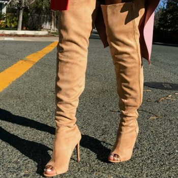 Top Quality Woman Boots Over-The-Knee Boots Sexy Peep Toe Comfortable And Elegant Summer Suitable Stiletto Heel Boots 2018