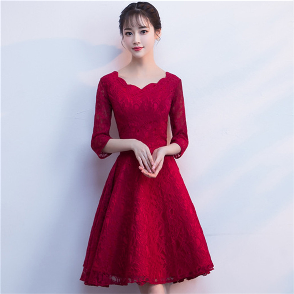 Plus Size 3XL Elegant Qipao Bridal Wedding Party Dress Sexy Exquisite Lace Cheongsam Evening Formal Gown Flare Sleeve Vestidos
