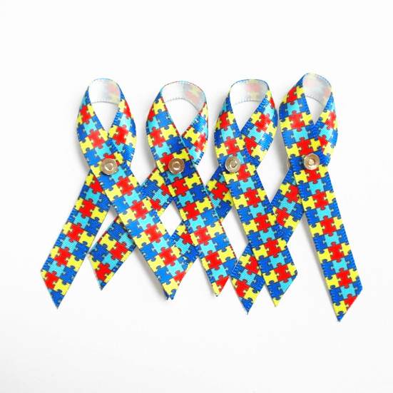1000pcs Autism Awareness Lapel Pin Puzzle Piece Multi Colored Ribbon Free Shipping