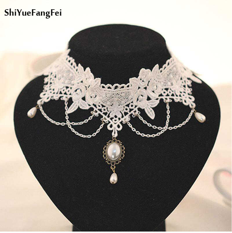 Gothic Bride Bridesmaid Jewelry Retro Elegant Imitation Pearl Necklace Pendant Necklace Wholesale Women White Lace