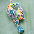 S925 Silver Pendant natural stone Bird Brooch Pendant with two falling factory outlets