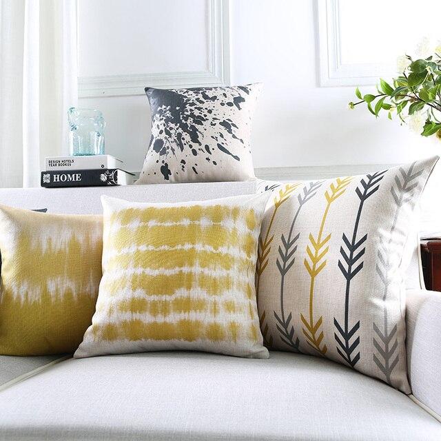 Envío libre gris abstracto amarillo Cojines Decoración para el hogar ...