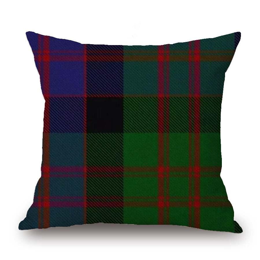 Hot Scotland PlaidGeometric Decorative Cushion Cover Throw Pillow Cases Soft Linen Home Sofa Red Pink Green Mandala Pillow Decor