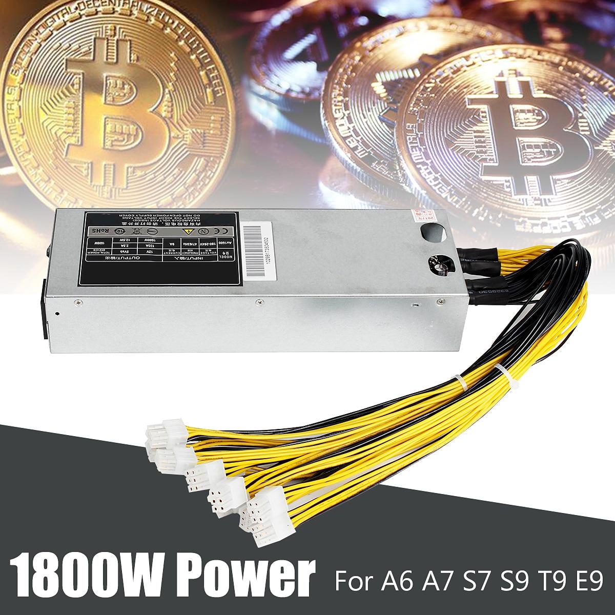 Leory 1800 w Alimentation Pour A6 A7 S7 S9 T9 E9 Série Mineur Minière Machine Ordinateur Minière Métal PC alimentation Avec Câble