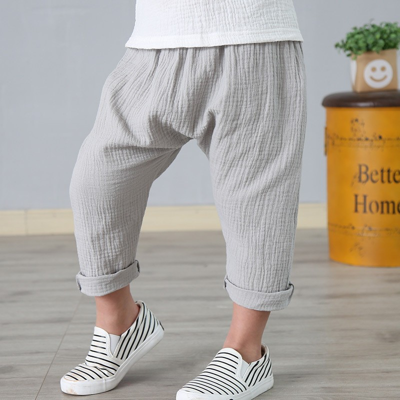 New 2-7y 18 Summer Solid Color Linen Pleated Children Ankle-length Pants for Baby Boys Pants Harem Pants for Kids Child 6