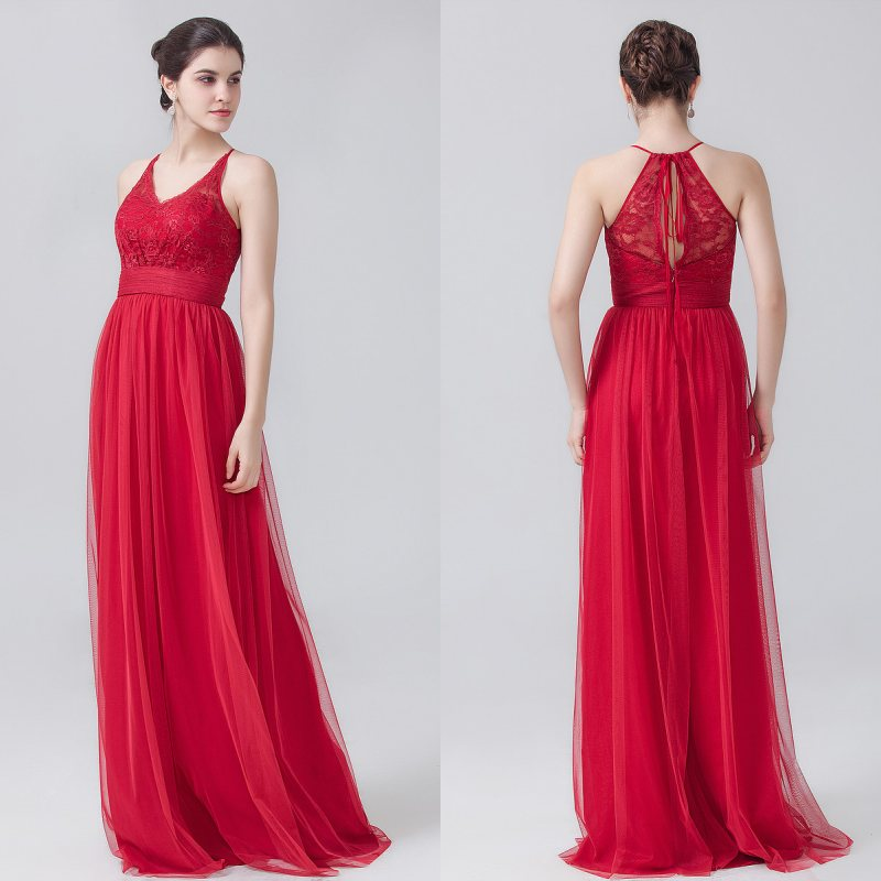 Hot Sale Cheap Halter Party Wedding Red   Bridesmaid     Dresses   Floor Length Lace   Dresses   for   Bridesmaid   Vestido