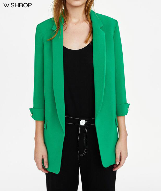 WISHBOP 2018 Spring Green Blue Pink Black LONG BLAZER lapel collar 3/4 sleeves French cuffs with pearl bead Front flap pockets