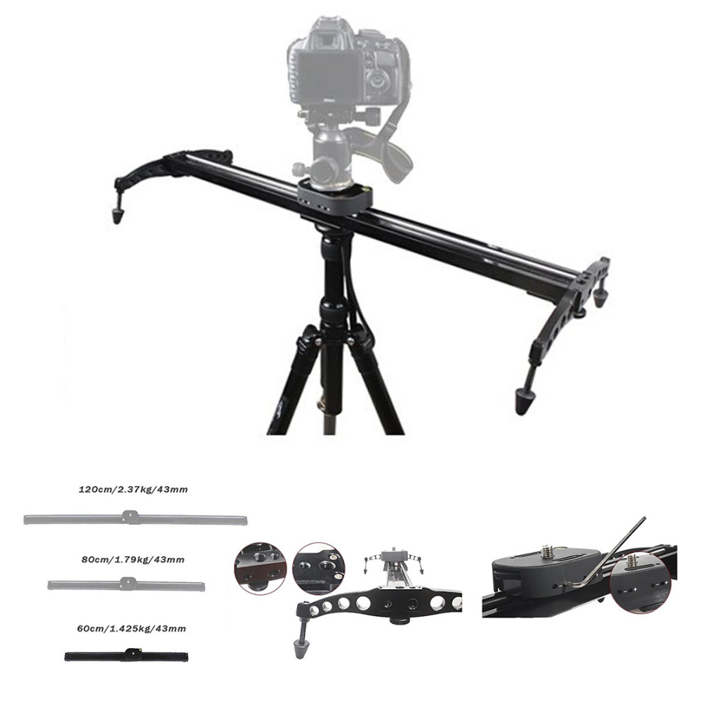 EACHSHOT 60cm / 24'' Ball-Bearing Camera Video Track Slider Stabilizer System for DSLR Camcorders eachshot
