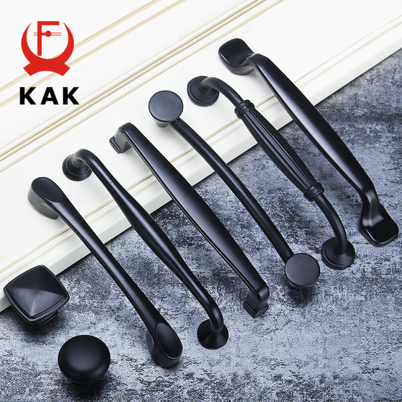 KAK American Style Black Cabinet Handles Aluminum Alloy Kitchen Cupboard Pulls Drawer Knobs Fashion Furniture Handle Hardware