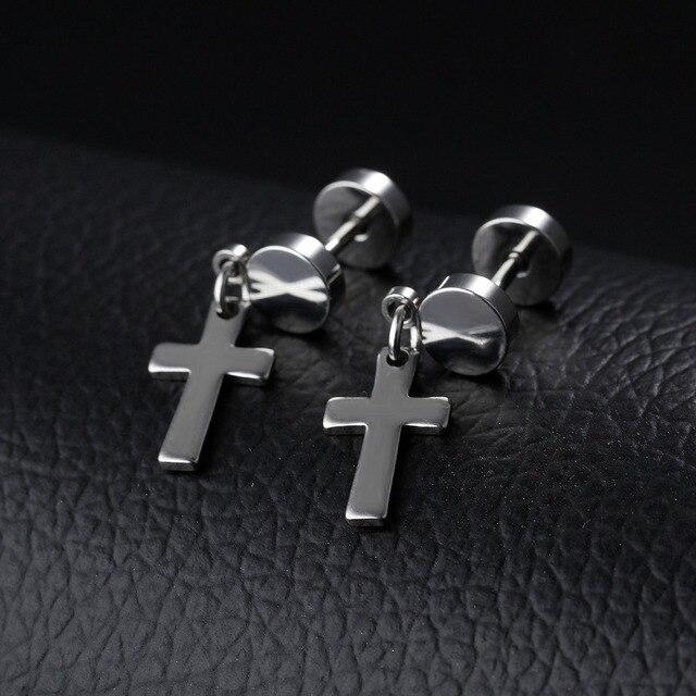 Маленькие серьги подвески в стиле панк для мужчин и женщин черные/стальные/золотистые