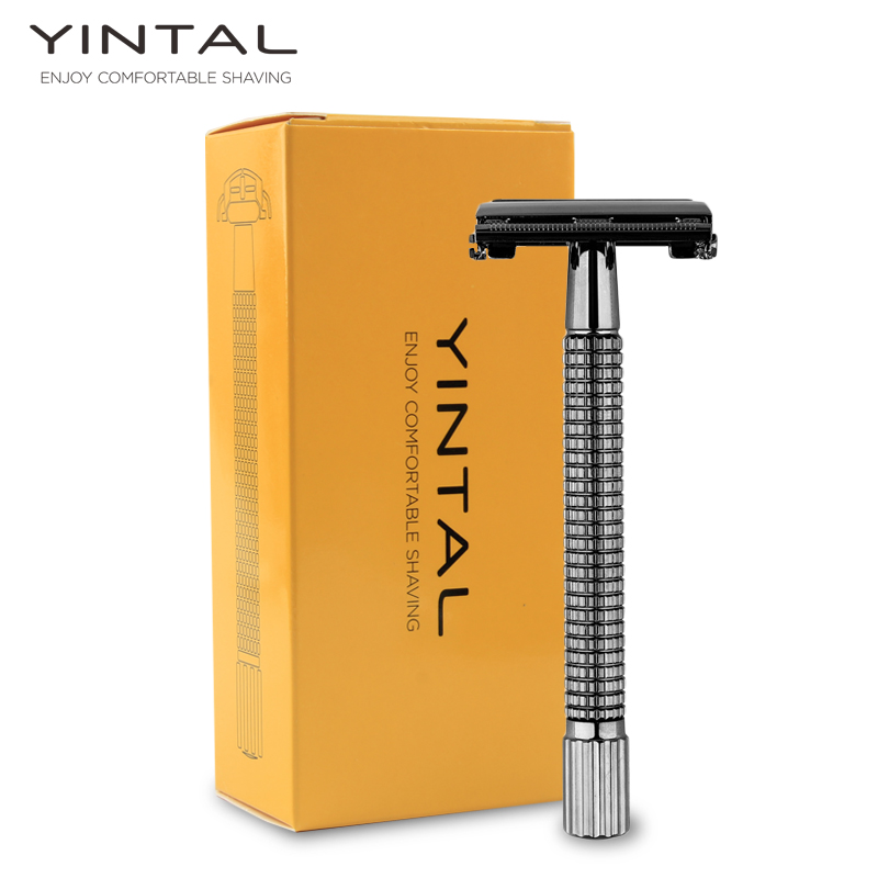 YINTAL Long Handle Version Butterfly Open Double Edge Safety Razor Men's Manual Classic Razor 1 Razor 5 Blades