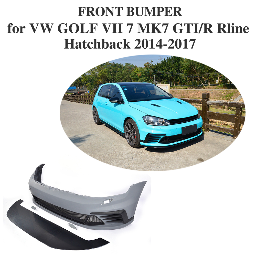 PU Unpainted Auto Car Front Bumper Body kits for VW GOLF VII 7 MK7 GTI R Rline Hatchback 2014 - 2017 Car Accessories use for vw golf 7 mk7 vii parking front