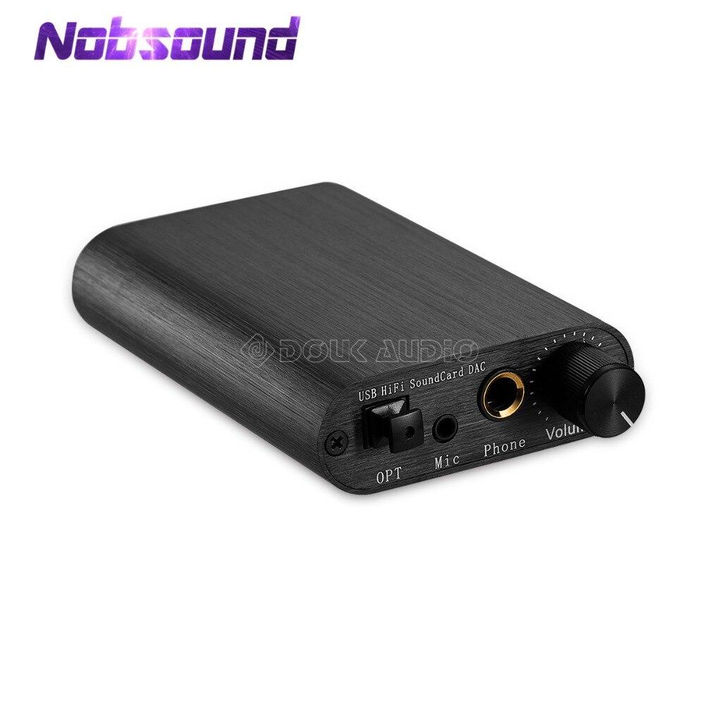 Nobsound Mini HiFi Sound Card DAC TDA1387 USB 8X Audio Decoding Headphone Amplifier DTS/AC3 Coaxial Optical Digital Output leather