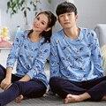 Novo 2016 lazer Primavera & Outono longo sleeve100 % algodão casal pijama define Amantes desgaste Casa pijamas das mulheres & homens pijama