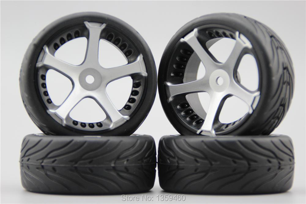 10709+rubber Tire painting Silver 4pcs Rc 1/10 Soft Rubber Touring Car Tire Tyre Nylon Wheel Rim W5s5s 3mm Offset