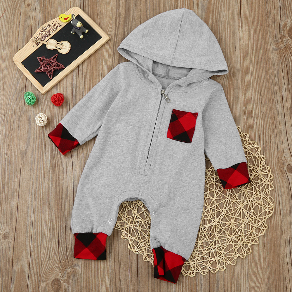 d594d6a1236d ISHOWTIENDA costume for baby overall Plaid Hooded long sleeve ...