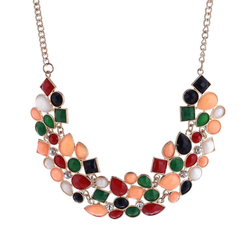 c1b5a2da07 Hesiod Statement Necklaces Collares Gold Color Black Colorful Enamel Maxi  Choker Necklaces For Women