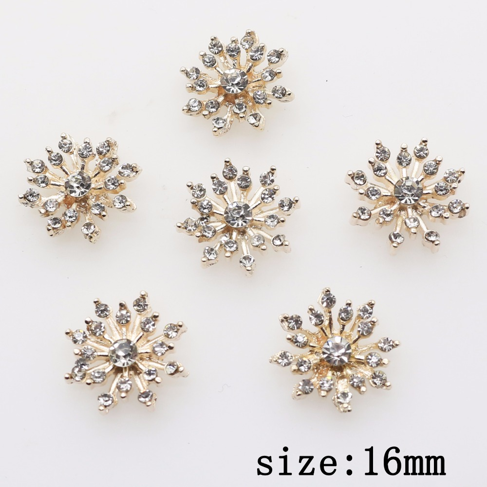 Accessories for jewelry 2018 fashion 10pcs 16mm Alloy flowers DIY clothing Accessories Rhinestone Bride Headdress Handmade Craft