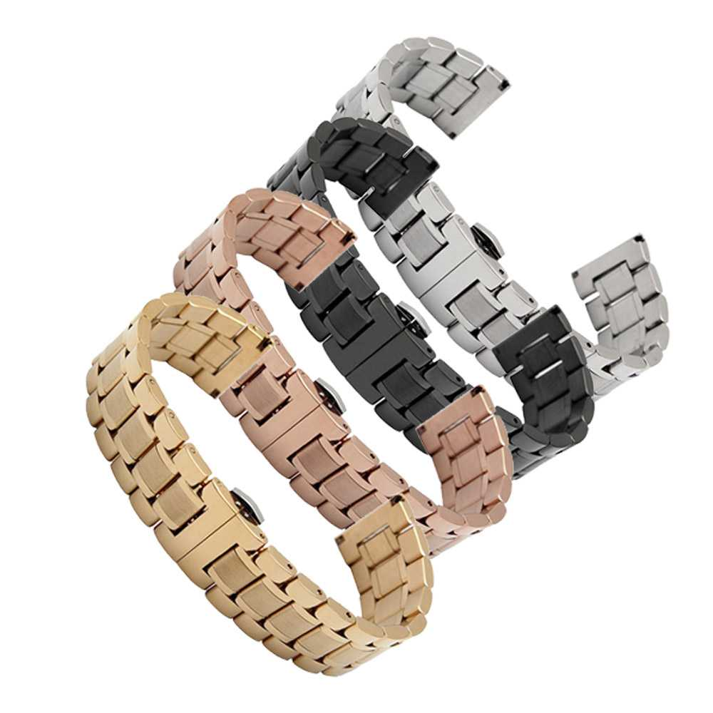 14mm 16mm 18mm 20mm 22mm 24mm Stainless Steel Watch band Strap Bracelet Watchband Wristband Butterfly Black Silver Rose Gold 16mm 18mm 20mm 22mm ceramic and stainless steel watchband bracelet rose gold white watch band watch strap butterfly buckle clasp