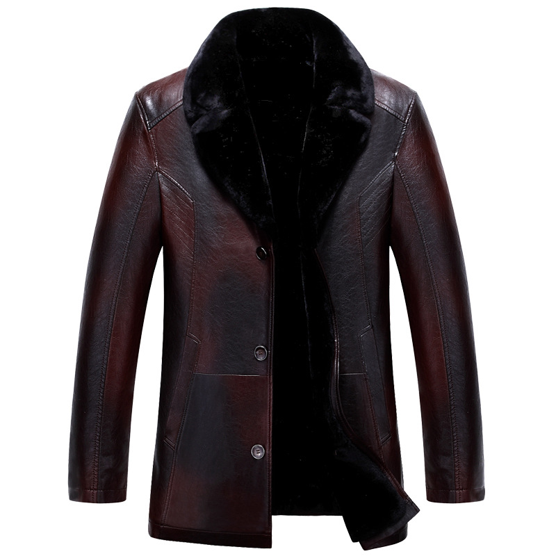 Winter PU Leather Jacket Men Casual Chaquetas Hombre Solid Color Warm Coat Turn Down Collar Parkas Thick Male Casaco MZ2064