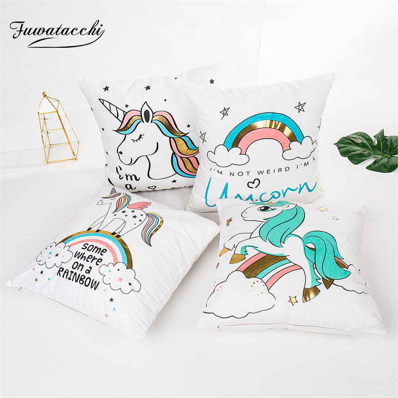 Fuwatacchi Cute <font><b>Unicorn</b></font> <font><b>Cushion</b></font> <font><b>Cover</b></font> Gold Stamping Throw Pillow <font><b>Cover</b></font> New Rainbow Christmas Decorative Pillows for Home Chair image