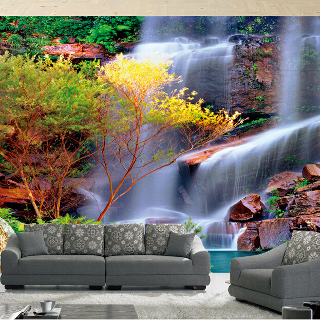 Natural Scenery Trees Waterfall 5D Papel Mural 3D Wallpaper for living room background 3d wall photo murals 3d Wall Murals ceramics 3d jewlry wallpaper flower papel murals for tv background living room 3d wall paper 3d wall stickers 3d photo murals