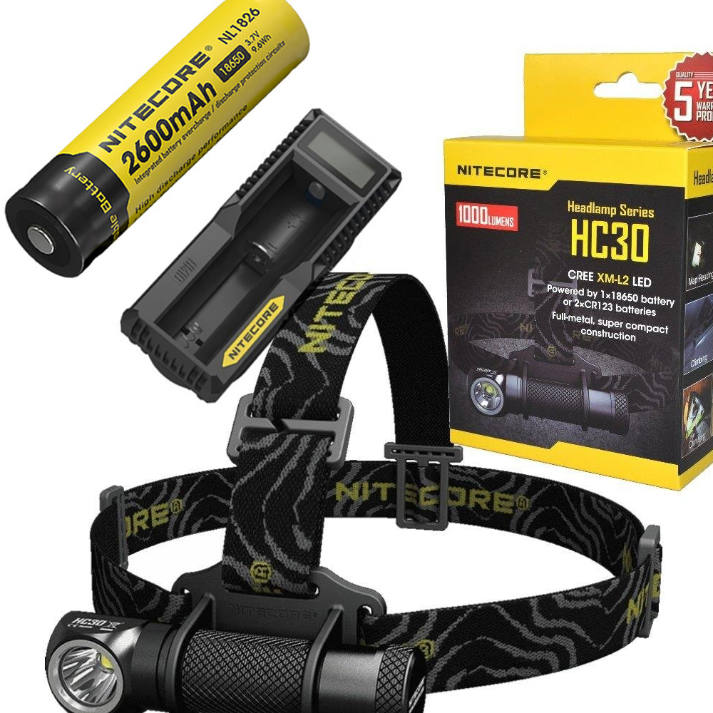 NITECORE HC30 HC30W Headlamp CREE XM-L2 U2 1000LM Waterproof Flashlight Torch with 18650 2600mAh Rechargeable Battery + charger цена