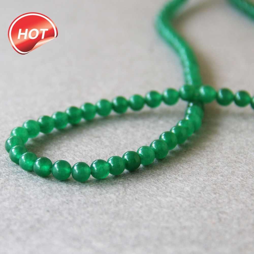 (Min Order1) 6 Mm Fashion Natural Green Chalcedony Manik-manik Bentuk Bulat DIY Batu Manik-manik Longgar 15 Inci Membuat Perhiasan Grosir Desain