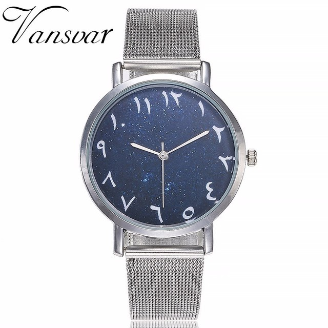 Hot Fashion Women Silver Mesh Arabic Numbers Watches Casual Stainless Steel Star