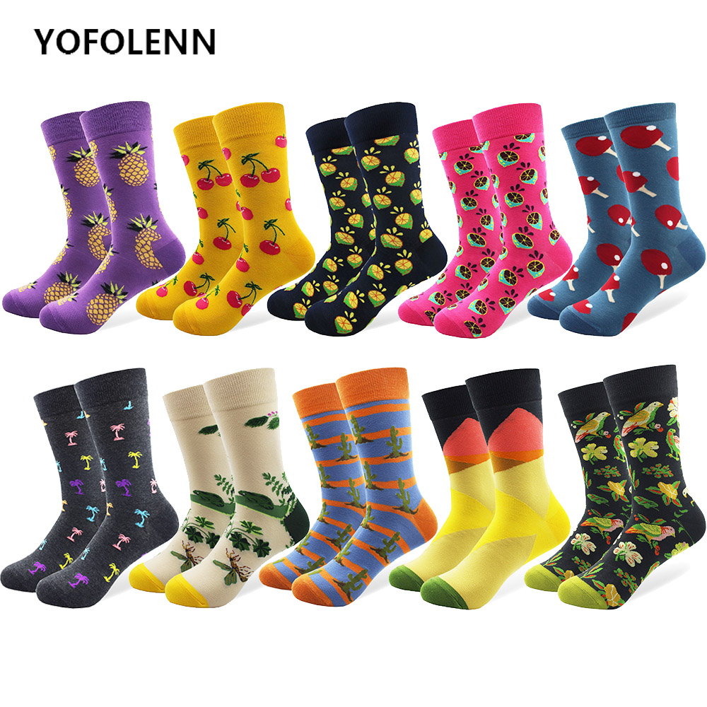 10 Pairs/lot Colorful Combed Cotton Fashion Mens Crew Socks Long Tube Fruit Pattern Funny Dress Causal Wedding Skate Cool Socks