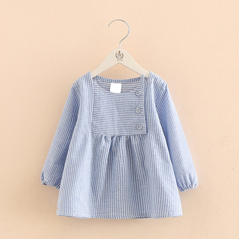 2017 Spring autumn Baby Girls Dress Striped Casual Dresses Infant Toddler Girl Party A line Dress blouse shirt outfit Clothing