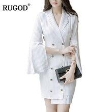 RUGOD Notched Striped Hot Sale Women Dress Elegant Spring Long Flare Sleeve Knitted Hot Sale Dress