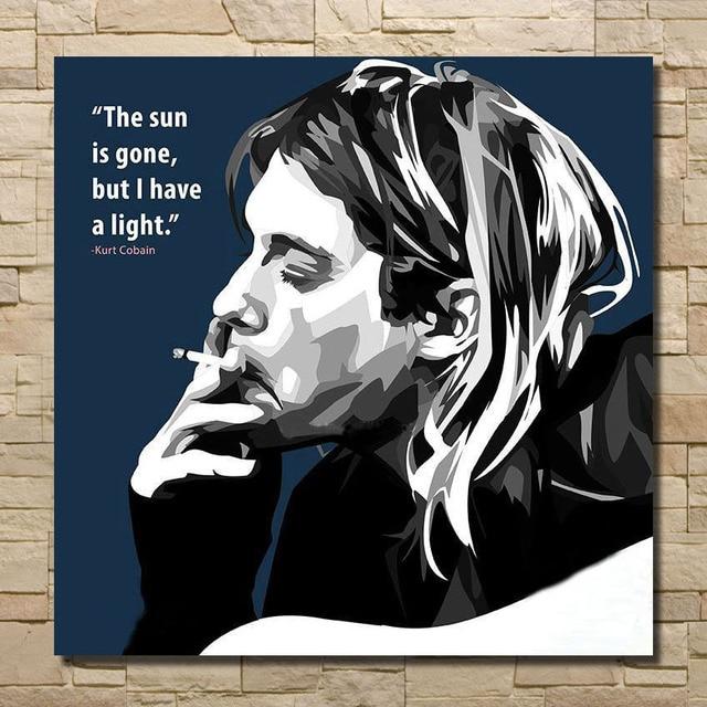 Pintura al óleo Kurt Cobain americano firmante estrella lienzo ...