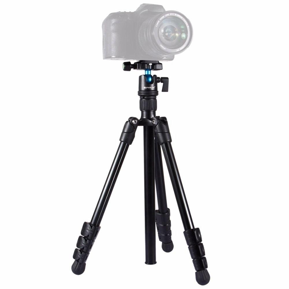 PULUZ support de trépied pliable pour appareil photo 4 sections jambes pliantes support de trépied en métal avec tête à rotule de 360 degrés pour appareil photo numérique et reflex numérique