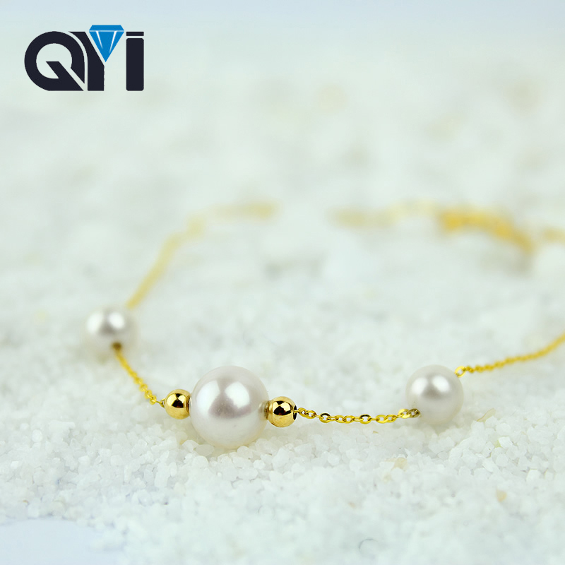 QYI Jewelry Wedding Engagement Bracelet 18K Yellow Gold Natural Cultured Freshwater Pearl Chain Bracelet Bead Bracelet 925 silver butterfly bracelet hand woven natural freshwater pearl bracelet filigree butterfly bead jewelry