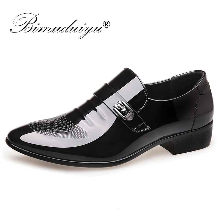 BIMUDUIYU Men Formal Wedding Shoes Luxury Men Business Dress Italian Leather Shoes Men Loafers Pointed Toe Oxford Shoes For Men bimuduiyu patent leather oxford shoes for men loafers dress shoes formal shoes pointed toe business fashion groom wedding shoes