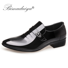 BIMUDUIYU Men Formal Wedding Shoes  Men Business Dress Italian Leather Shoes Men Loafers Pointed Toe Oxford Shoes For Men недорого