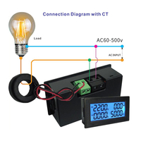 AC 60~500V 200A Power Meter Accurate Voltmeter Ammeter kWh Watt Energy Meter Voltage Current Power Monitor Tester Power factor