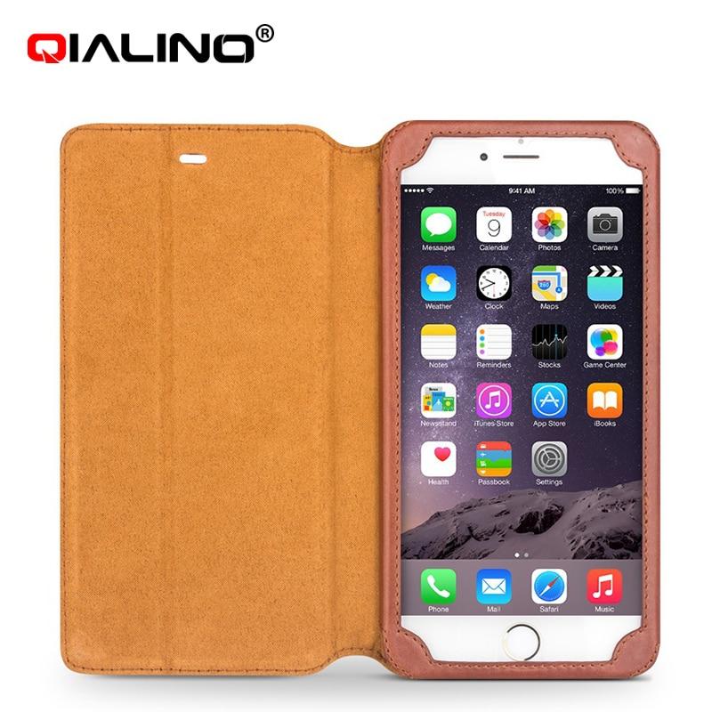 imágenes para Para iphone6 y 6 s Caso QIALINO Genuino de Cuero de Lujo Caso del soporte la función de iPhone 6/6 s plus Cubierta Del Tirón Del iphone 6 s Caso