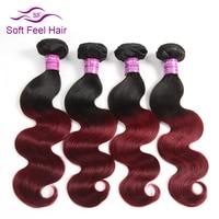 Soft Feel Hair Ombre Peruvian Body Wave Hair Weave Bundles T1B Burgundy Non Remy Human Hair