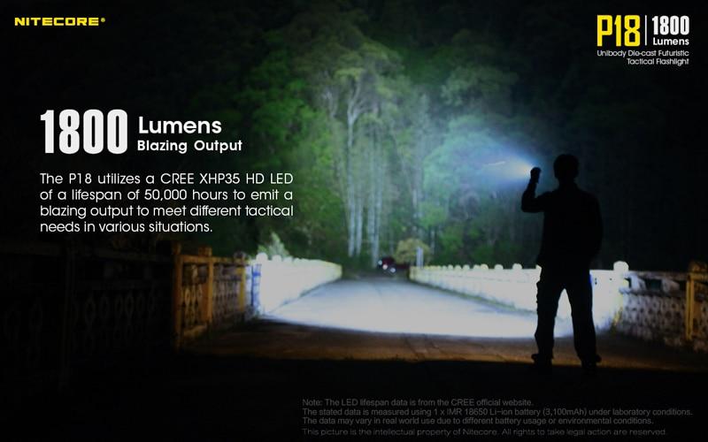 1800 Lumens Nitecore P18 Tactical Flashlight (5)