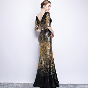Image 4 - New arrival sequines black floor length v neck lady girl women princess bridesmaid banquet party ball dress gown