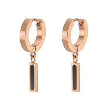 hot deal buy fashion earrings gold women jewelry strip square round stainless steel rose gold trendy earrings for men gifts unisex jewellery
