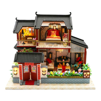 Bright Color Chinese Style Build Gift Children Miniature DIY Assemble LED Lighting Intellectual Wooden 3D House Model Kit Toy