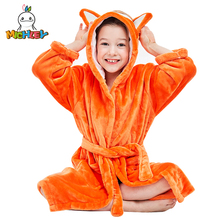 MICHLEY Kids Bath robes Adorable Baby Girl Roupao Hooded Childrens Towel Orange Fox Bathrobes Beach Swimwear Boy Pajamas WEK-O