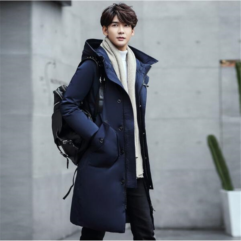 2017 Winter new parkas for jacket Hooded brand casual men warm plus size Long Black Loose Coat Free shipping vogue anmi brand clothing men s casual parkas long style loose fit fur hooded jacker winter jacket men padded army size m xxl