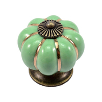 12Pcs Pumpkin Zinc Ceramic Door Knobs Drawer Pull Handle Kitchen Cabinet Cupboard Wardrobe Green