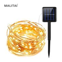 Guirlande lumineuse en cuivre, LED bandes solaires, 5M, 10M, 20M, LED bandes féeriques, décoration de réception de mariage, noël, lampe solaire, alimentation USB