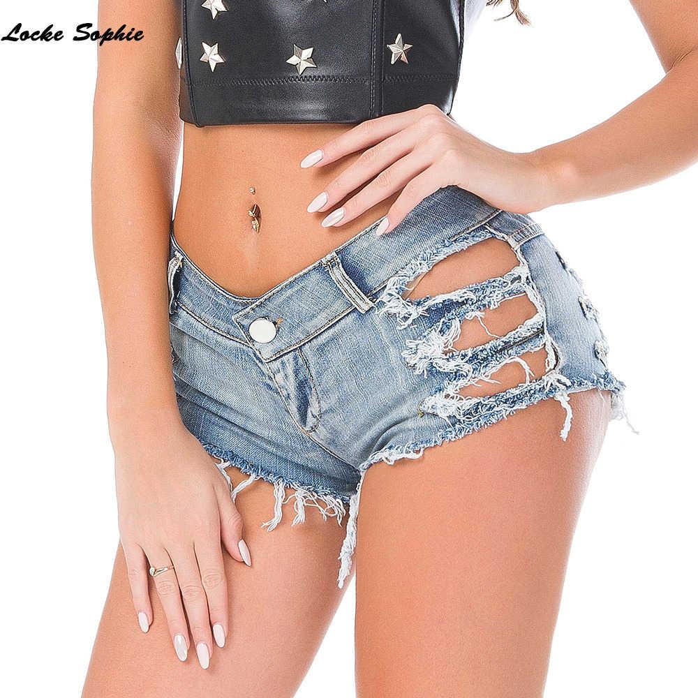 Wysokiej talii seksowne damskie jeansowe spodenki jeansowe 2019 letnia moda zepsuta dziura panie Skinny denim bawełniane super krótkie dżinsy dziewczyny