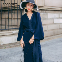 Cheerart Vintage V Neck Midi Dress Women Summer Navy Blue Satin Lace Up Split Pijama Long